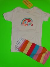 NWT BABY GAP GIRLS RAINBOW BE HAPPY PJ'S 12-18 MONTHS SHORT SLEEVED TOP SHORTS
