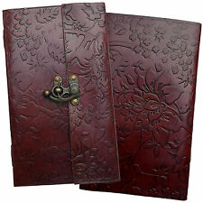 "9"" Handmade Leather Floral Embossed Vintage Sketchbook Journal Diary Notebook"