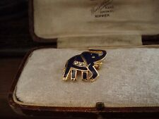 Tiny Dark Navy Blue Enamel Elephant Brooch Pin with Clear Crystals Gold Plated