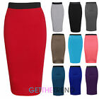 LADIES PLAIN OFFICE WOMENS STRETCH BODYCON MIDI PENCIL SKIRT TUBE WIGGLE SKIRT
