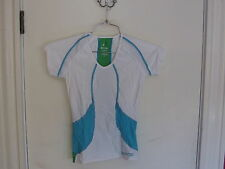 SKINS Women's cap sleeve compression cycling top-size M-white,azure&emerald