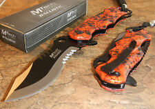 MTECH Ballistic BOWIE Black Red SKULL CAMO Spring Assisted Opening Pocket Knife