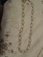 """Clear Faceted Transparent & Opaque Oval Plastic Bead Necklace - 24"""" long"""