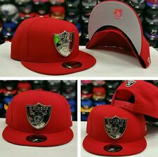 New Era Silver Metal Badge Shield NFL Oakland Raiders 9Fifty Snapback hat RED