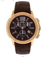 R&Co Rotary Mens Brown Dial Chronograph Watch - leather strap RGS00004/42/16