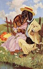 DOGS, DACHSHUND COUPLE, TECKEL, DACKEL, PICKING DAISY PETALS, BY THIELE, MAGNET