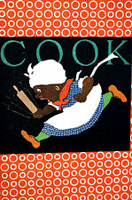 Elizabeth Cadie 1925 Black Americana COOK w ROLLING PIN - Cooking Print Matted