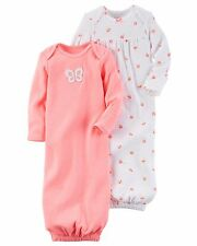 NEW NWT Carter's Girls Preemie 2 Pack Sleeper Gowns Long Neon Pink Butterfly