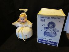 King Toy Music Box doll Angel WHITE Plush Silent Night Boxed 1950's Works 11.5""