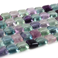 8mm AAA Multi-color Fluorite Puff square loose gemstone beads 16""