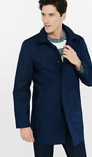 NEW EXPRESS $198 NAVY HOODED COTTON TRENCH COAT JACKET SZ S SMALL