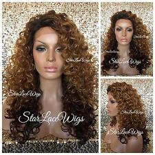 Lace Front Wig Long Curly Ombre Dark Root Dark Auburn Burgundy Ends Heat Safe Ok