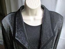 2-Pc.Jacket & Blouse Black/Silver by Hermann Lange Collection Germany - Elegant!