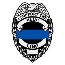 I Support The Blue Line Reflective Badge Police Law Enforcement Decal Sticker