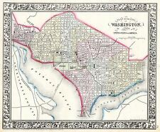 Mappa antica 1864 Mitchell Washington CITY piano grandi repro poster stampa pam1843