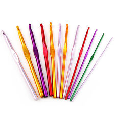 12 Multi Coloured Aluminium Crochet Needles Hooks 2mm-8mm Set Knitting Stitches