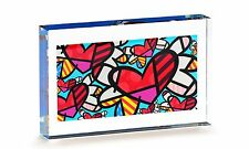 ✿ ROMERO BRITTO ✿ DOUBLE-SIDED GLASS TABLE BLOCK: FLYING HEARTS * GIFT BOXED
