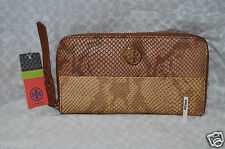 NWT Tory Burch Nougat Brown Leather Farrah Continental Zip Around Wallet Clutch