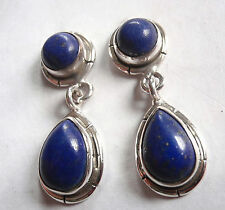 Lapis Double Gem 925 Sterling Silver Stud Earrings w/ Grooved Accents