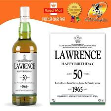 PERSONALISED SINGLE MALT WHISKY BOTTLE LABEL BIRTHDAY ANY OCCASIONS GIFT