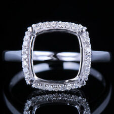 10x10mm Cushion Solid 10K White Gold Diamond Engagement Wedding Semi Mount Ring