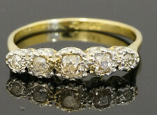 Antique 18ct Yellow Gold & Plat Old Cut Diamond (0.33) Eternity Ring Size O 1/2