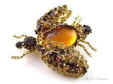Vintage HOBE 1965 Topaz Rhinestone & CAB Bug Beetle Bee Figural Brooch Pin