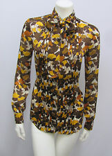 """TOM FORD GUCCI BLOUSE TOP SIGNED """"GUCCI"""" IN PRINT AUTUMN PRINT EARTHTONES 38 S"""