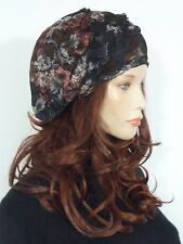 Fearlessly stylish lagenlook black floral lace vintage 1920 style cocktail hat