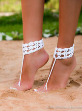 Barefoot Beach Sandals Crochet Anklet Beach Wedding Foot Jewelry Nude Shoe White