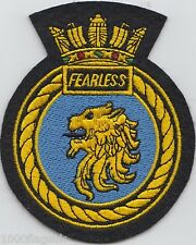 HMS Fearless Royal Navy Embroidered Crest Badge Patch - MOD Approved