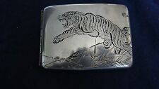 Mixed Metal Engraved Erotic Japanese Sterling Silver Cigarette Case Signed