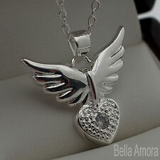 "925 Silver Angel Wings Clear CZ Heart Crystal Pendant 18"" Necklace Chain 224"