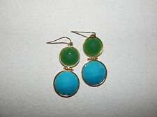 ANTHROPOLOGIE EARRINGS TEAL GREEN DOUBLE CIRCLES GOLD RIM HOOK DANGLE #102