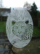 "Etched Glass Look LEOPARD Window Decoration 10.5""x16"""
