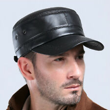 Black Men Leather Ivy Cap Gatsby Newsboy Driving Golf Flat Military Peaked Hat