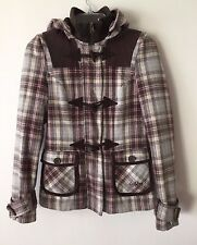 Women's Billabong Full Zip & Toggle Plaid Lined Wool Hooded Jacket XS