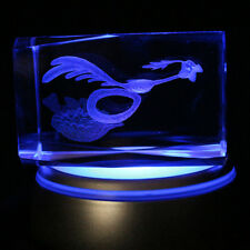 Road Runner Looney Tunes Laser Etch 3D Crystal figurines w LED Night Light Base