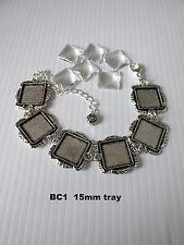 2pcs argent antique 15mm square blank cabochon cadre cadre verre bracelet uk