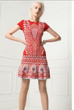Alice Temperley Keita Red Signature Short Cap Sleeve Dress £695 XS