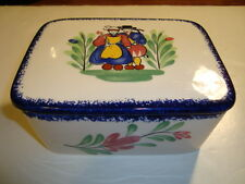 "French faience box with its lid made by Pornic, Brittany, w-6""/ d-4.75""/ h-3"""