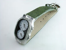 Philip Stein Teslar Chip Diamond Bezel Steel Watch Dual Timezone White Oprah