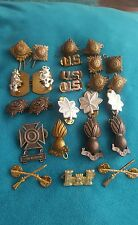 Job Lot Vintage Military Cap & Collar Badge's Various Regiment's WWI