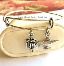 Silver Nurse Charm Bracelet LPN Caduceus Nightingale Lamp Nursing GraduationGift