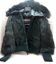 MONCLER GRENOBLE AIGOUAL GREEN FUR WOMANS JACKET SIZE 2