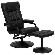 Black Leather Recliner and Ottoman with Leather Wrapped Base BT-7862-BK-GG