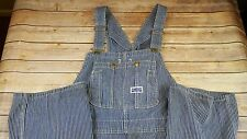 Vintage Big Smith Blue White Striped Overalls Button Fly Men's Made In USA 46x32