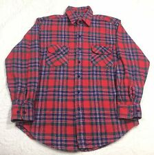 Dickies Mens Large Long Sleeve 100% Cotton Flannel Shirt Red Blue Green Plaid