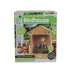 FEEDER WOODEN GARDEN BIRD HOUSE WATCH BOX NEST NESTING CLEAR NEST