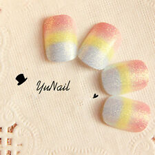 Pretty Rainbow Color Fake Nails  Oval Full Light Red Yellow and White Glitter